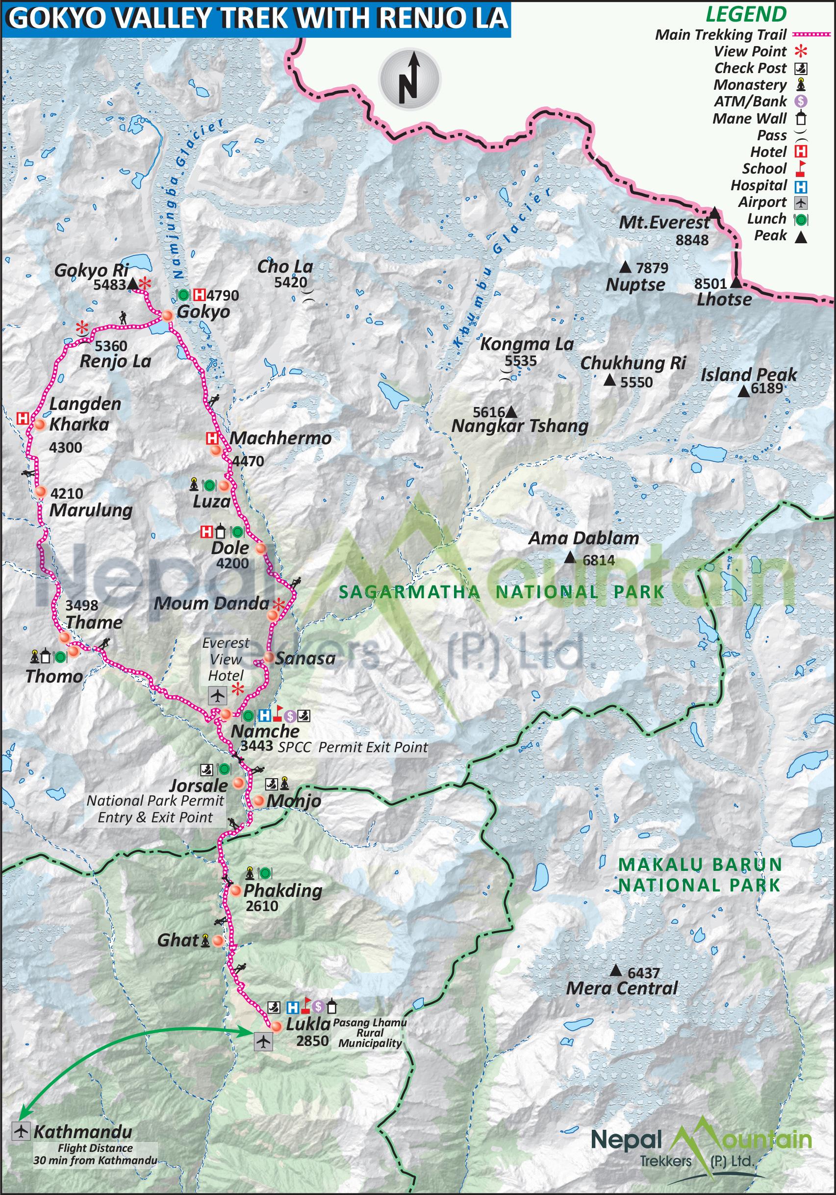 map of Gokyo Valley Trek with Renjo La Pass