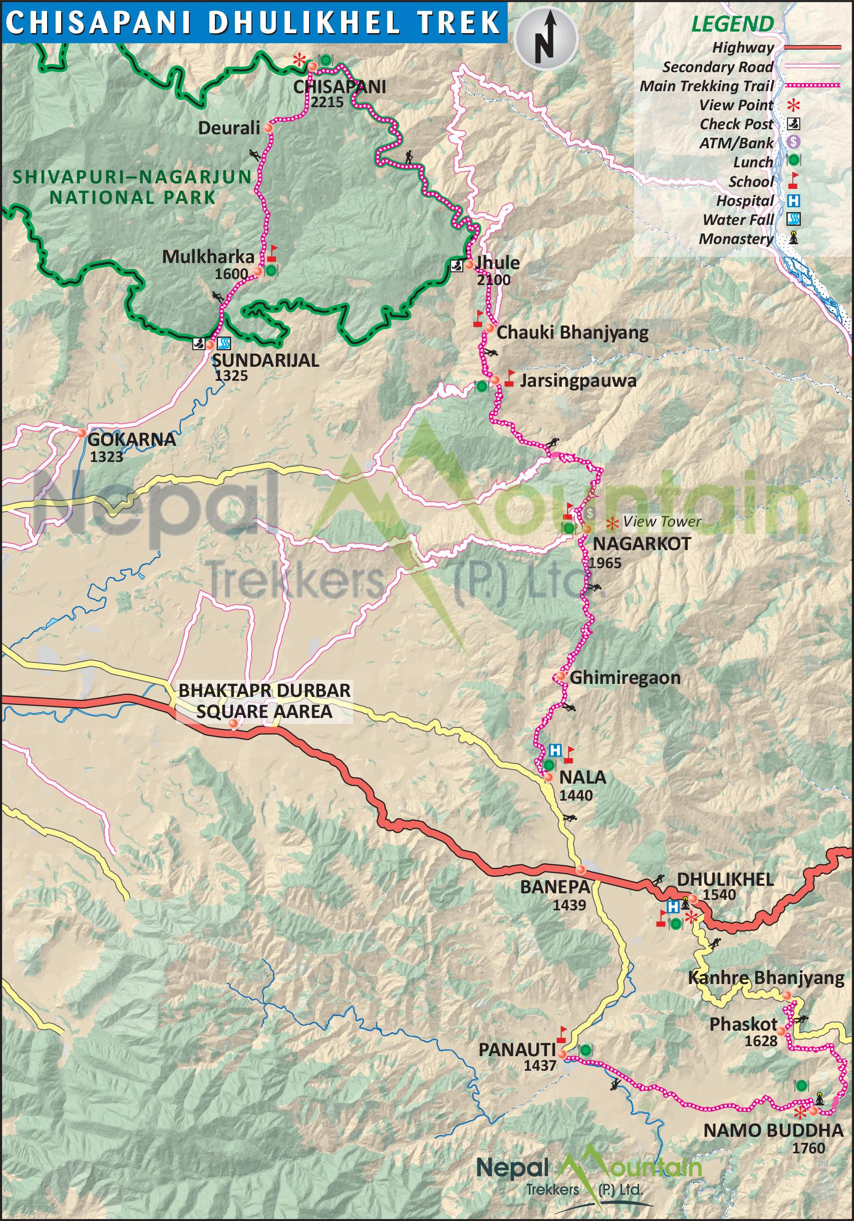 map of Chisapani Dhulikhel Trekking