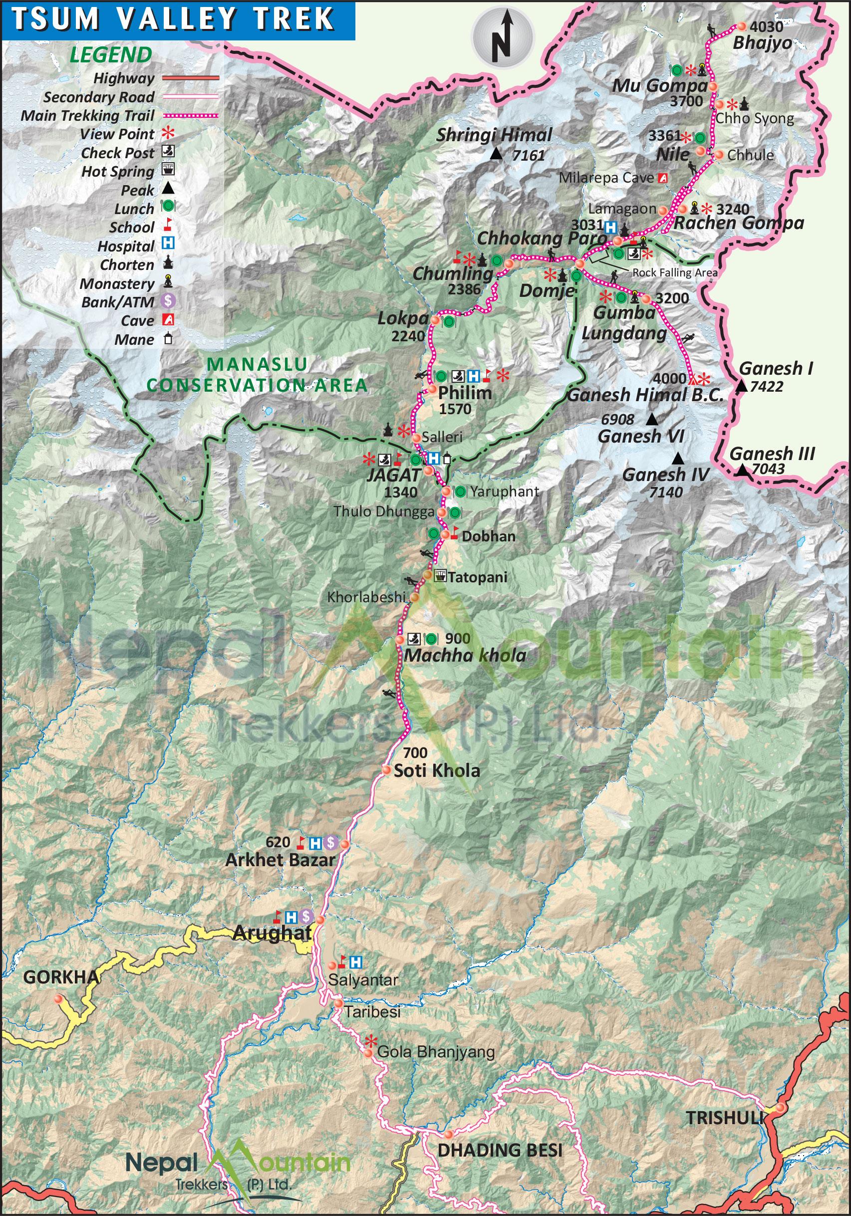 map of Tsum Valley Trek