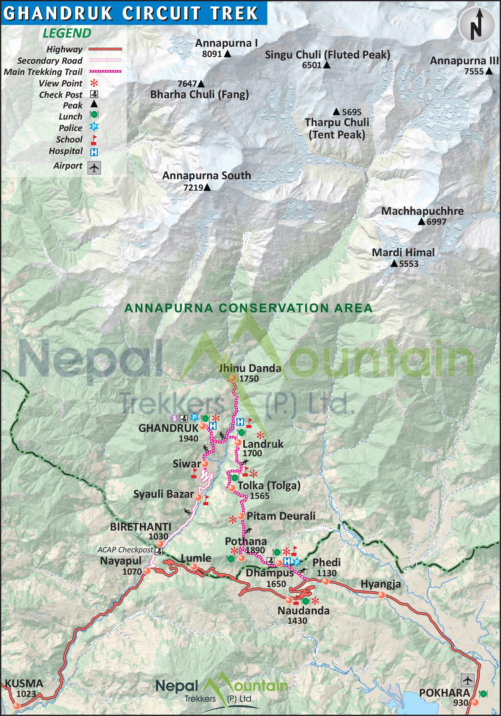 map of Ghandruk Circuit Trek