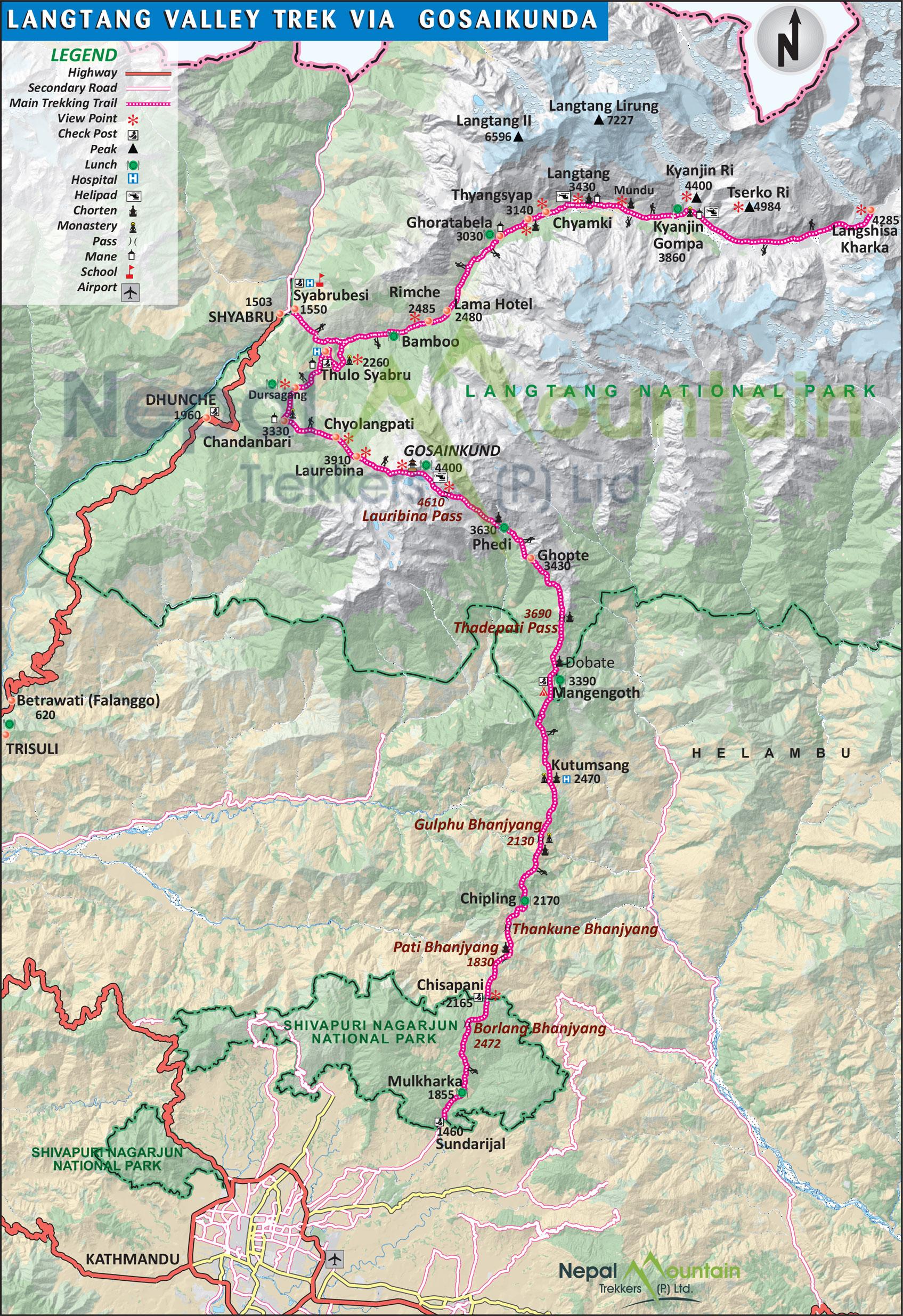map of Langtang Gosaikunda Pass Trek