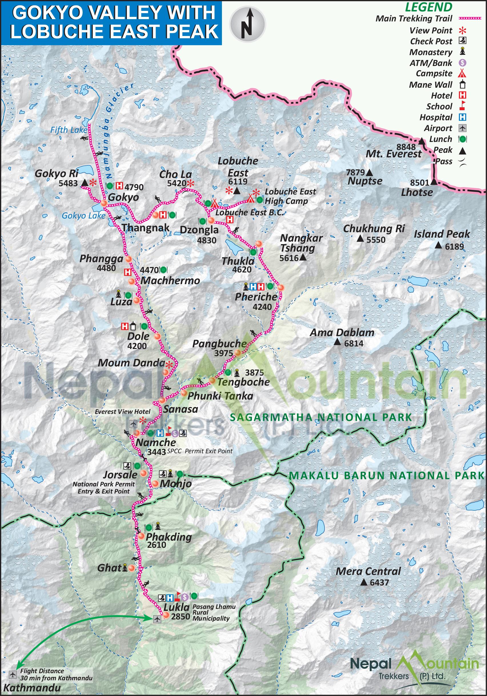 map of Gokyo Valley with Lobuche East Peak Climbing
