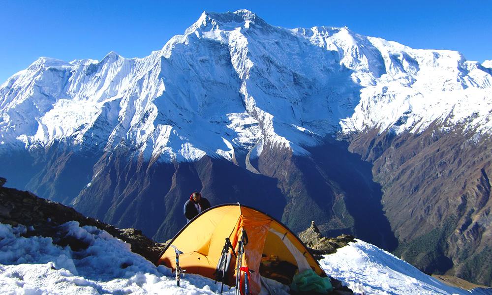 Annapurna IV on backdrop from Pisang Peak Base Camp