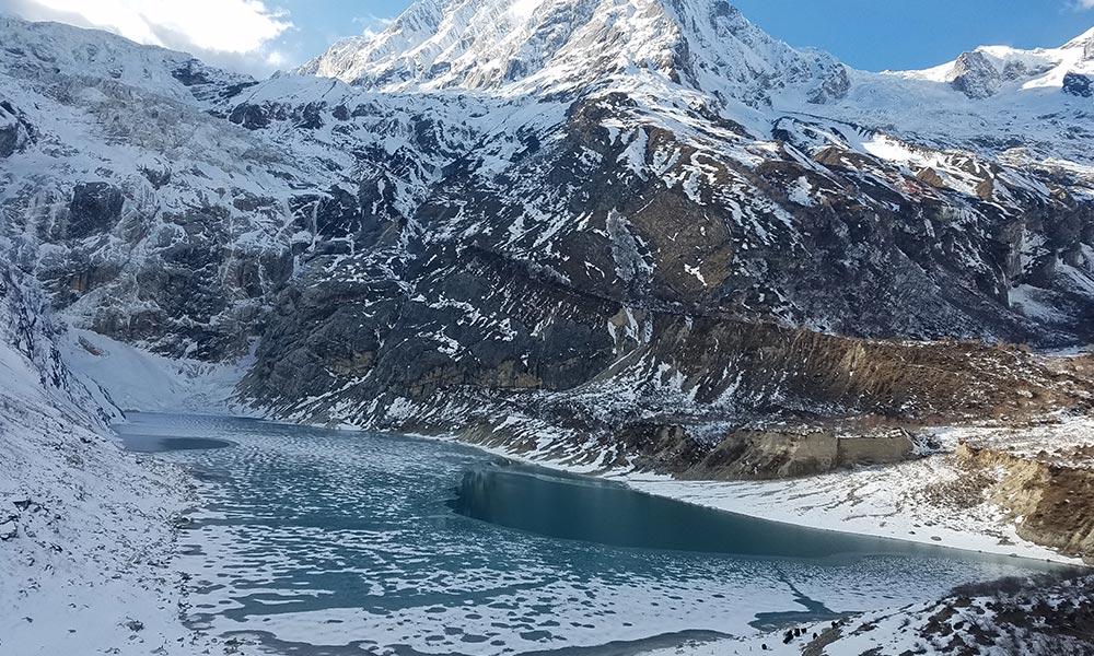 Frozen Birendra Lake during May