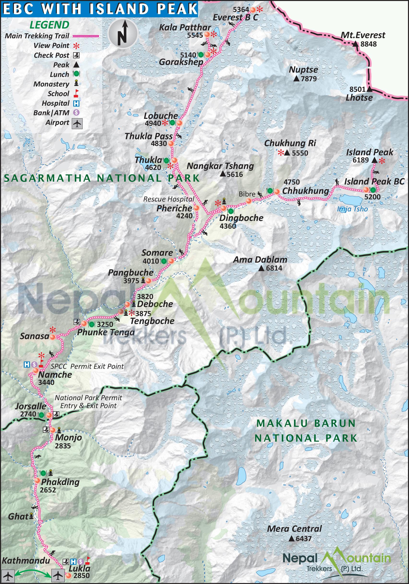 map of Everest Base Camp with Island Peak Climbing