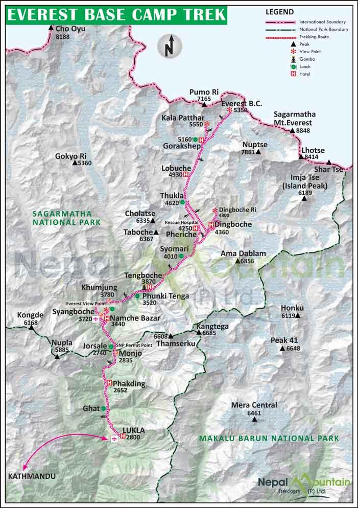 map of Everest Base Camp Trek