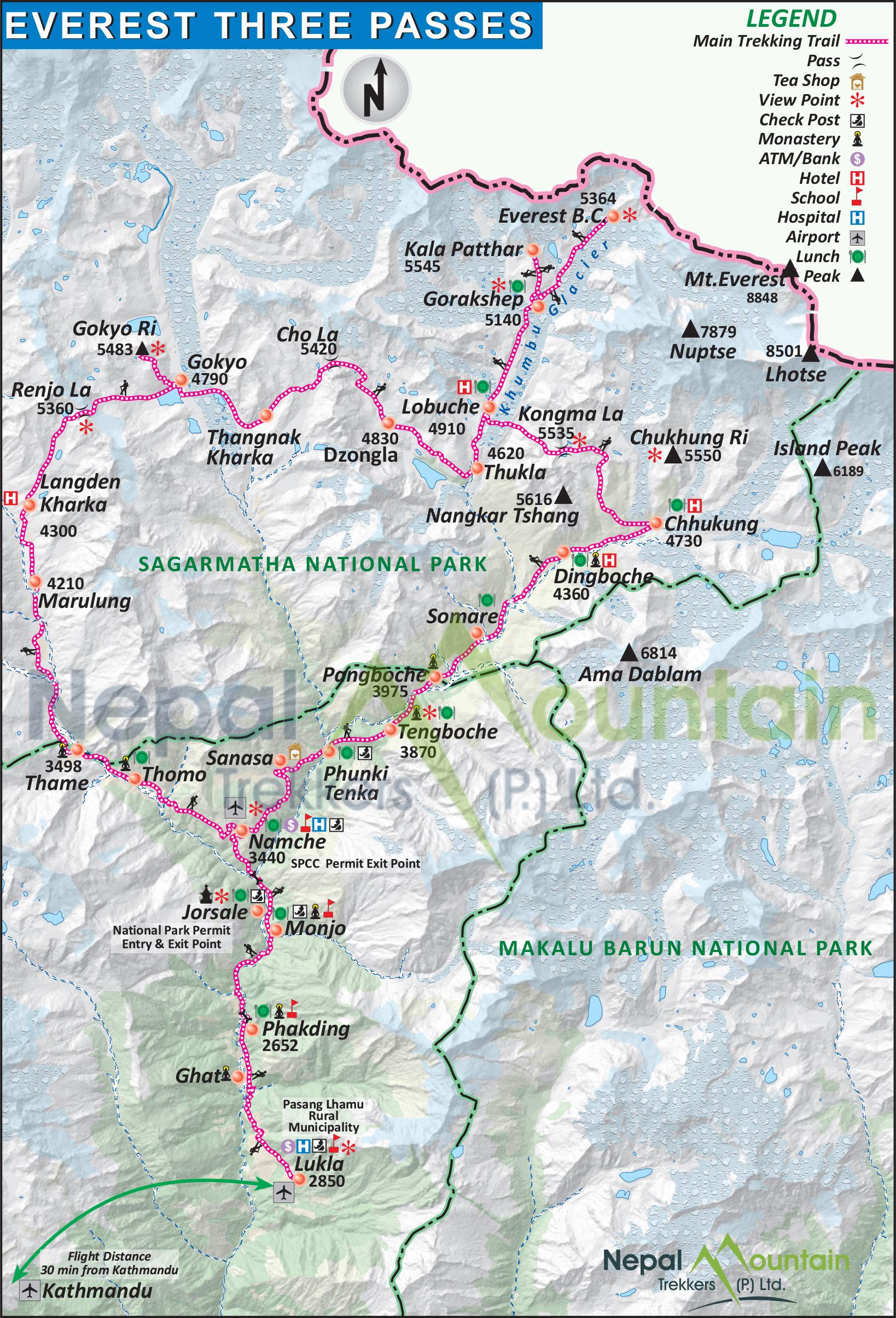 map of Everest Three Passes Trek