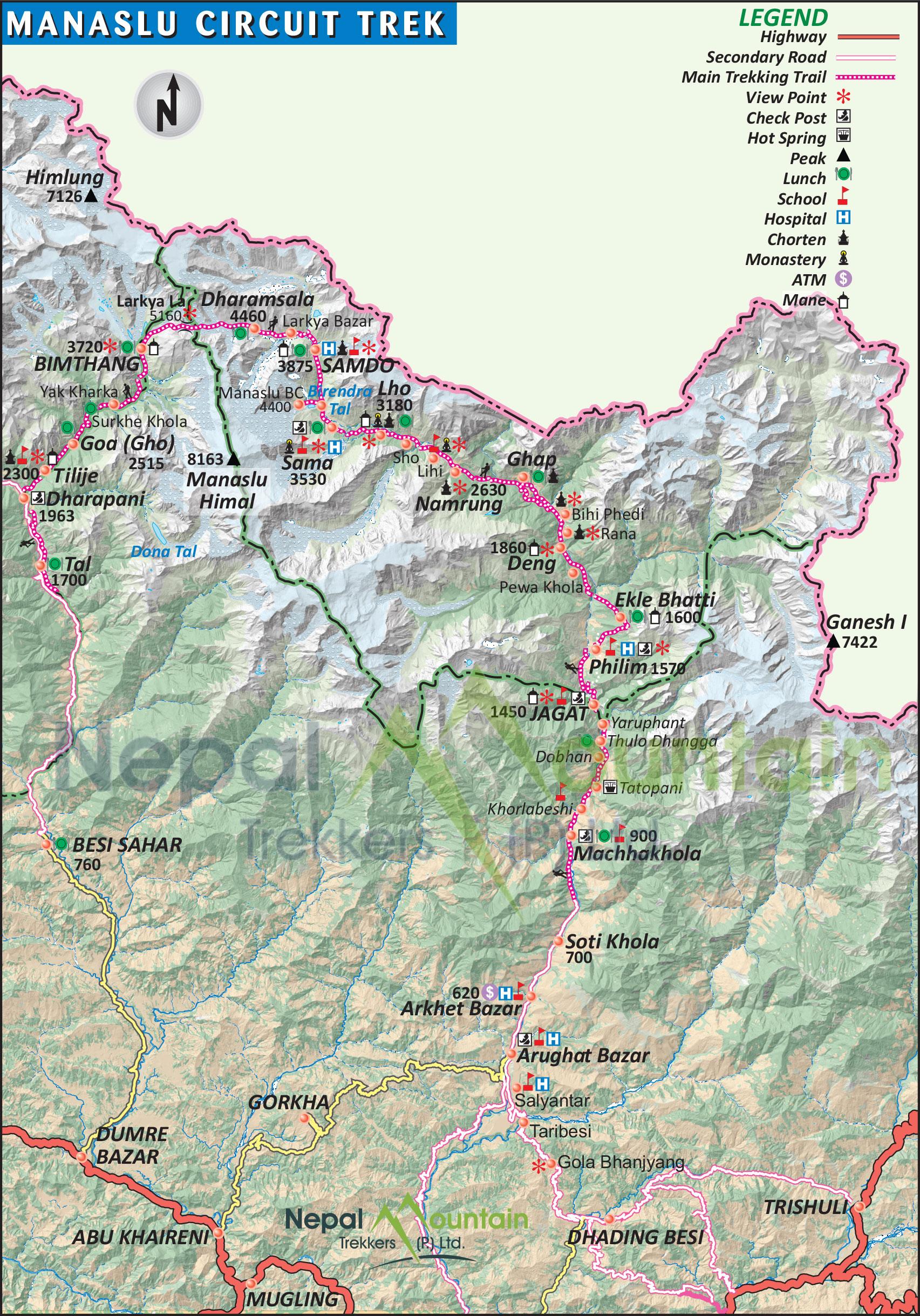 map of Manaslu Circuit Trek