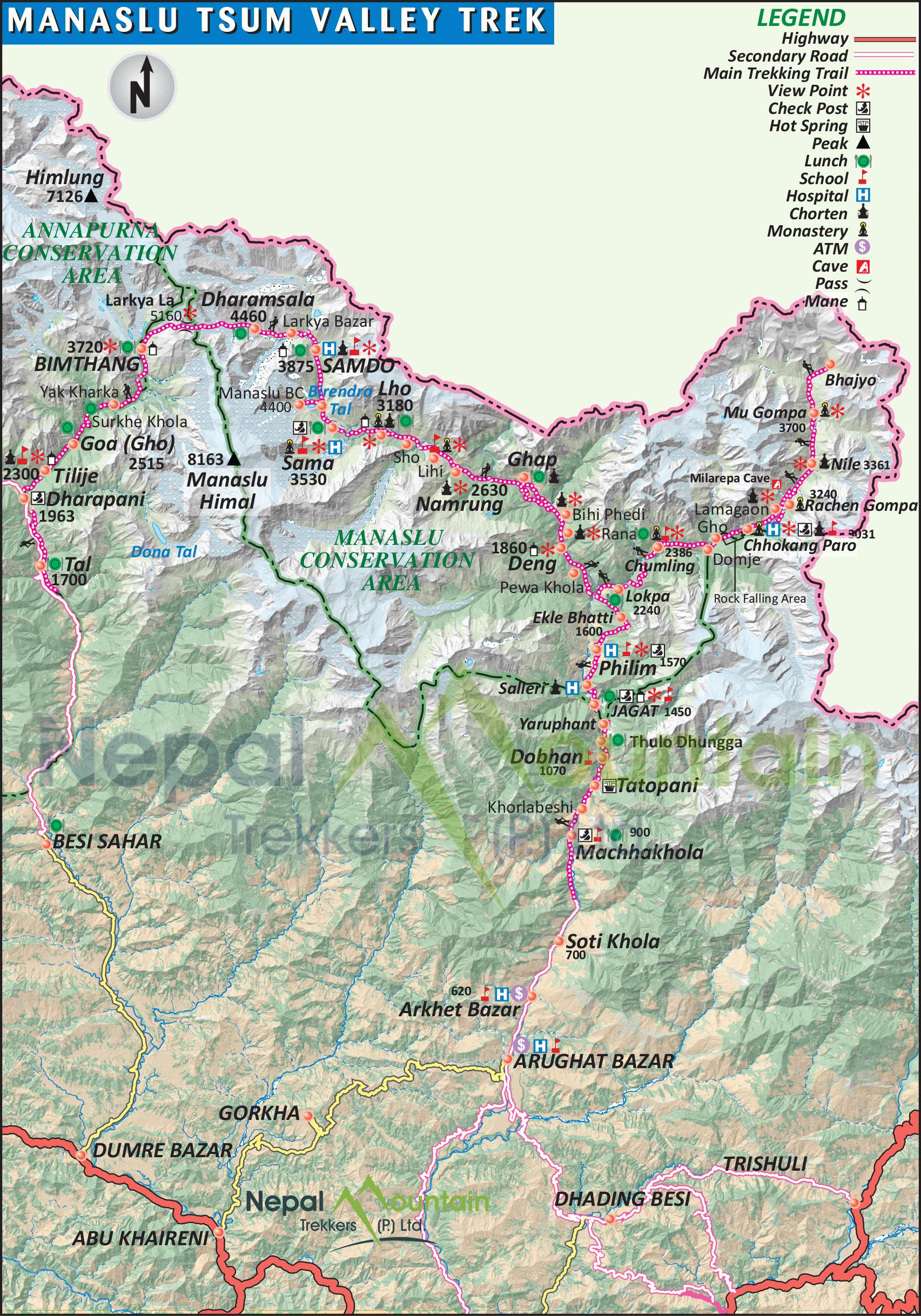 map of Manaslu Tsum Valley Trek