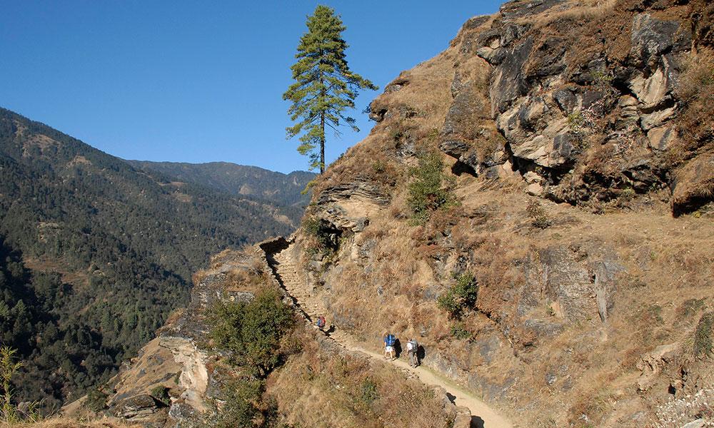 The route from Junbesi to Lamjura La Pass