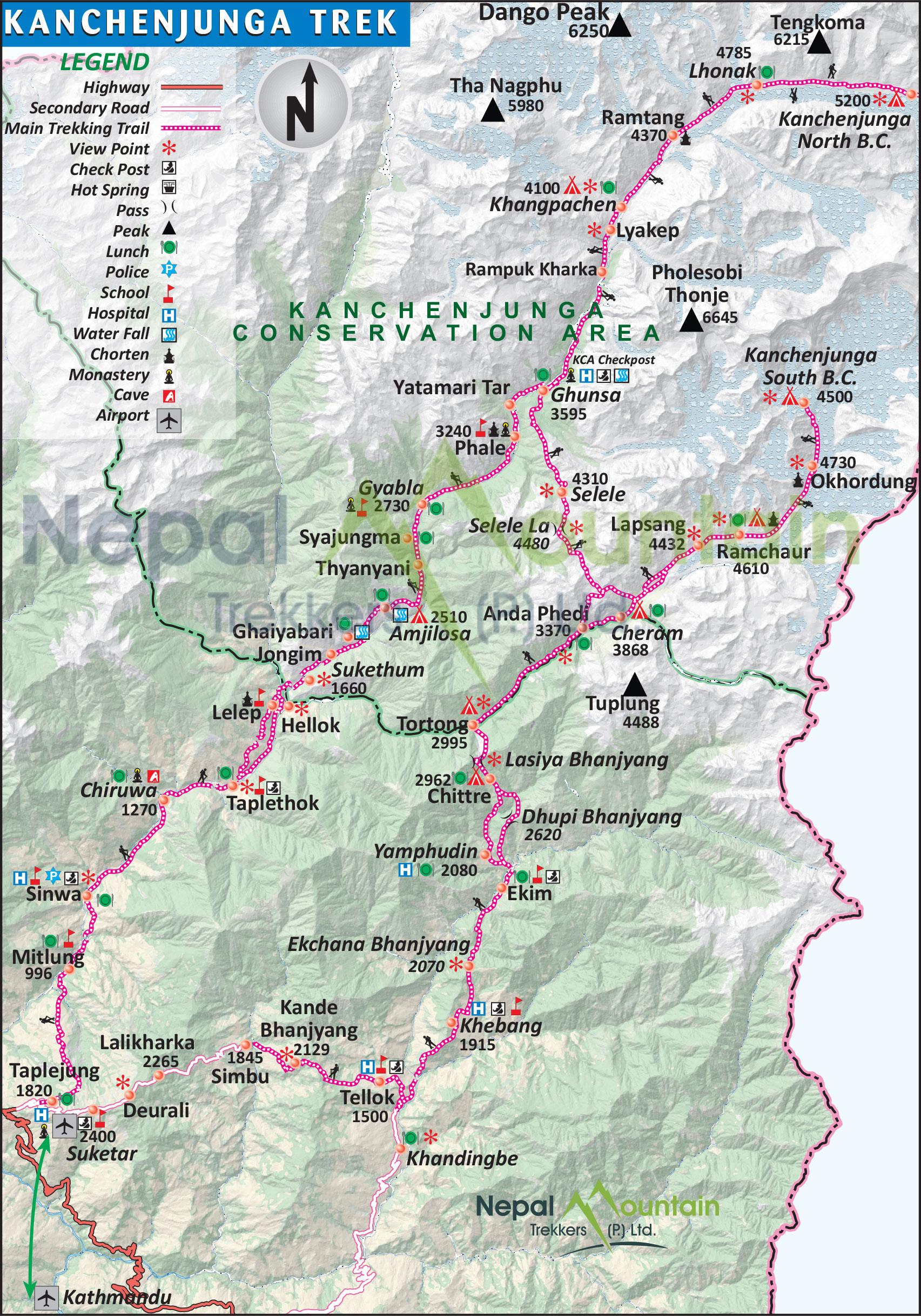 map of Kanchenjunga Trek