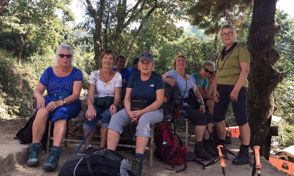 Trekkers on Rest during Chisapani Dhulikhel Trek
