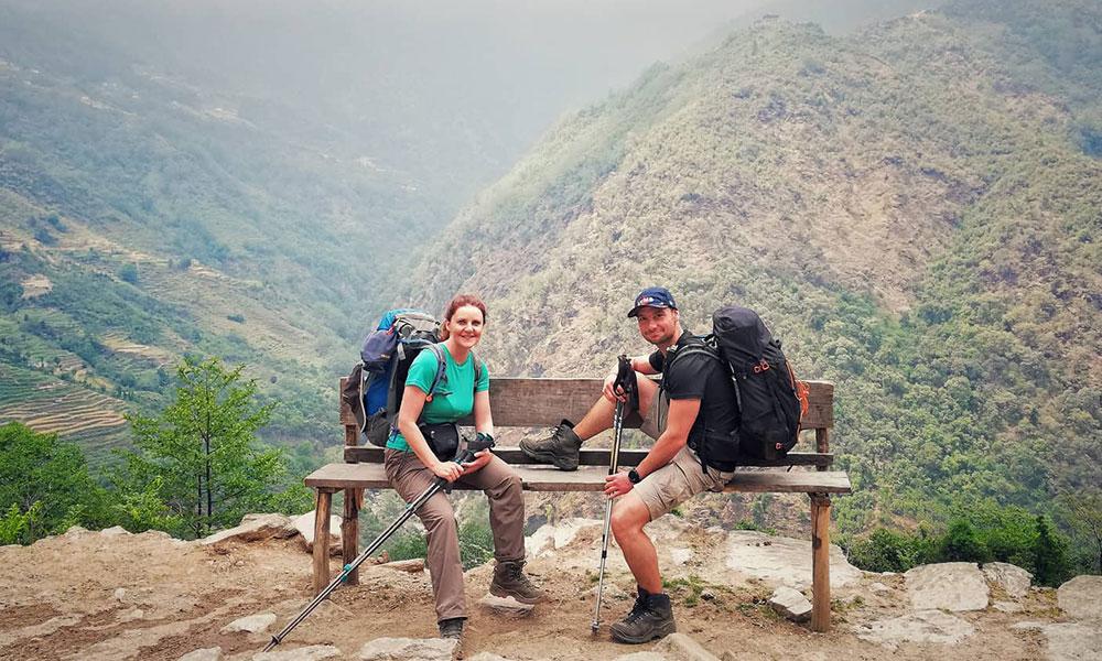 Trekkers resting at Munthala - on the way to Mera Peak