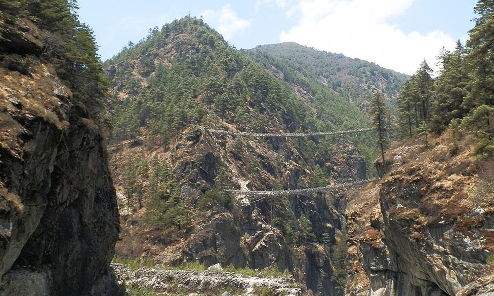 Highest Suspension Bridge on the way to Namche Bazaar