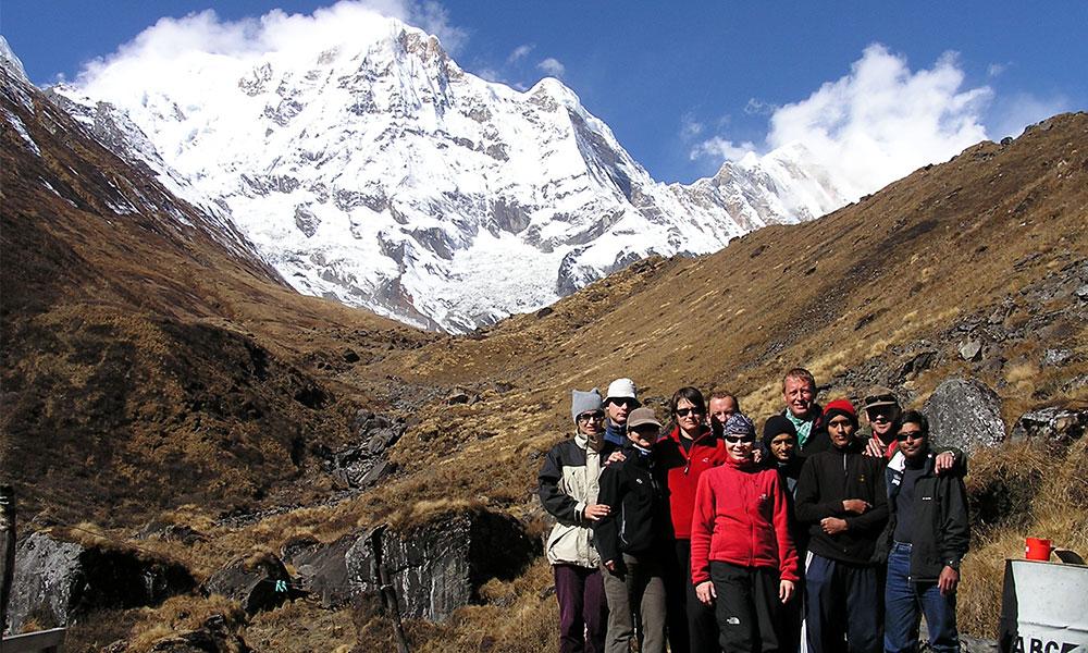 Group photo at Annapurna Base Camp