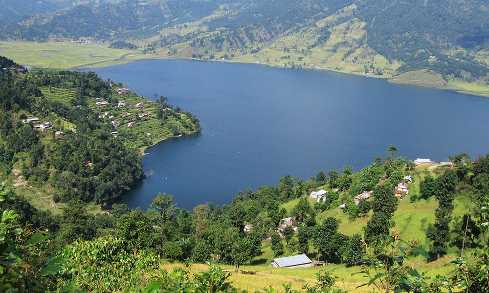 View of Fewa lake from Peace Stupa