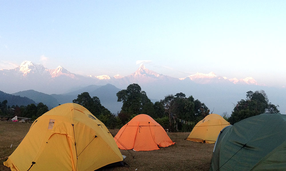 Camping during the trek