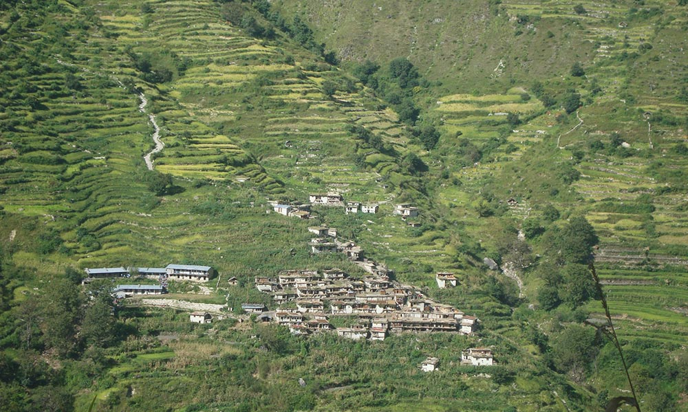 Terraced fields and the local village