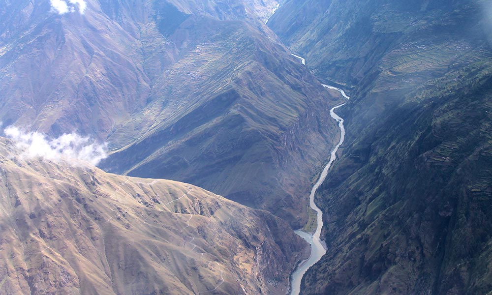 Karnali River from the Airplane