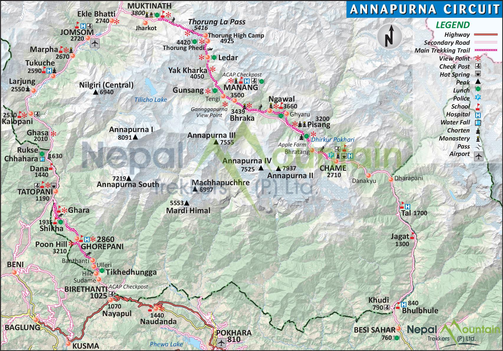 map of Annapurna Circuit Trek - Short