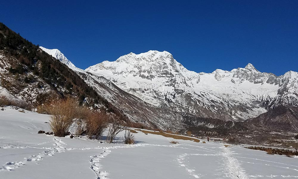 View of Manaslu North on the way to Samagaon from Shyala