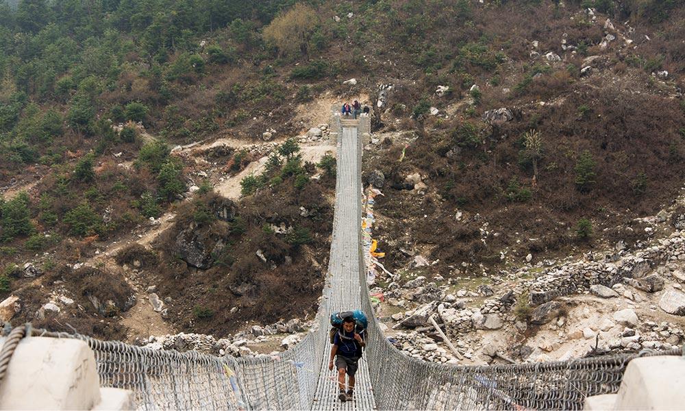 Suspension bridge from Lho to Shyala
