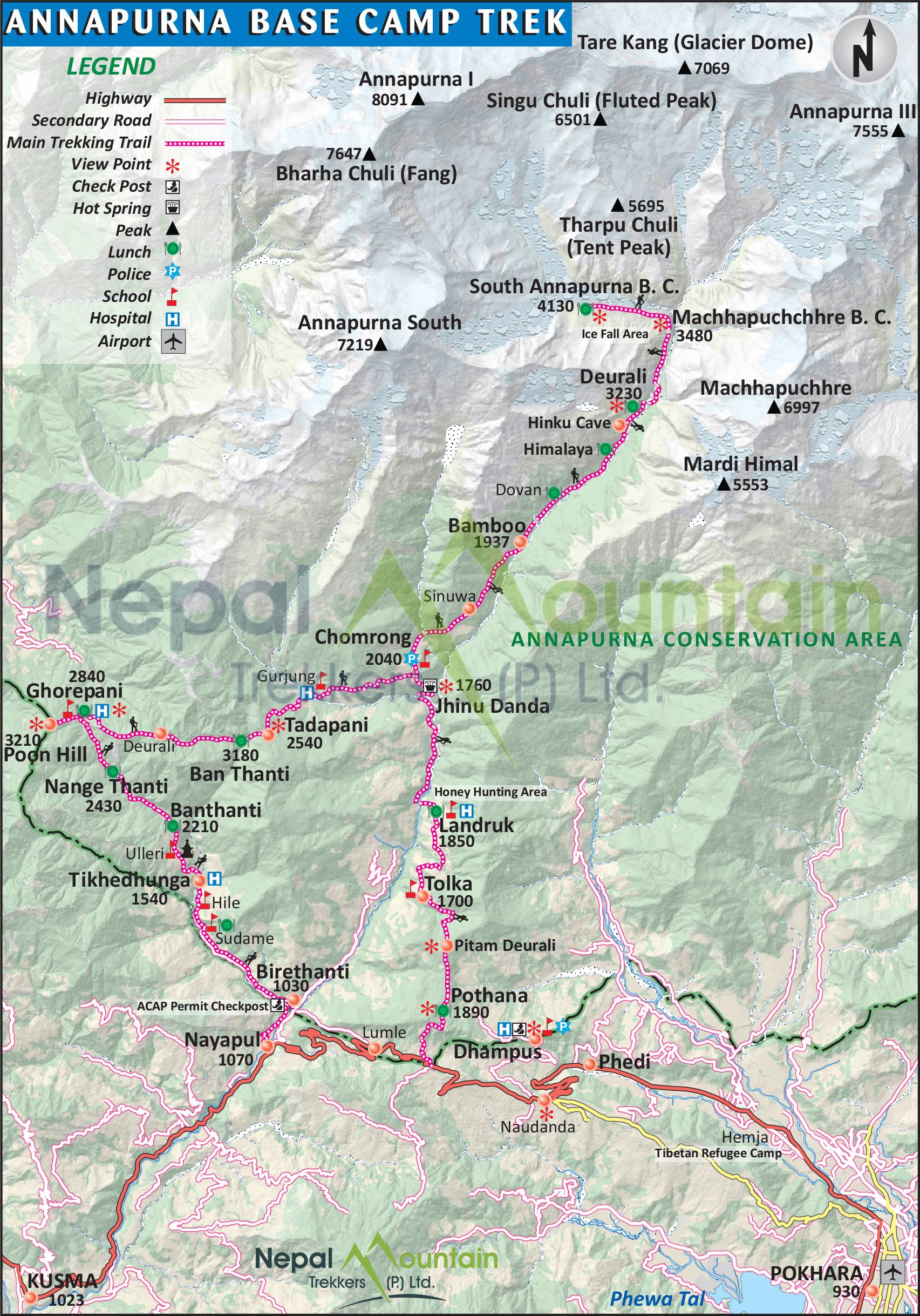 map of Annapurna Base Camp Trek - Long