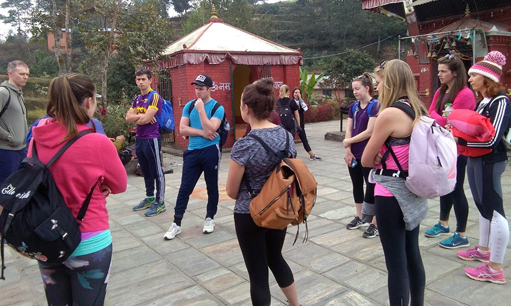Tour Guide briefing about Changunarayan Temple