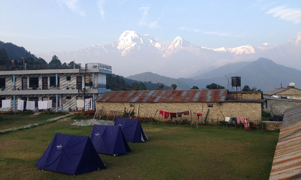 View of Annapurna south and Himchuli from Australian Camp