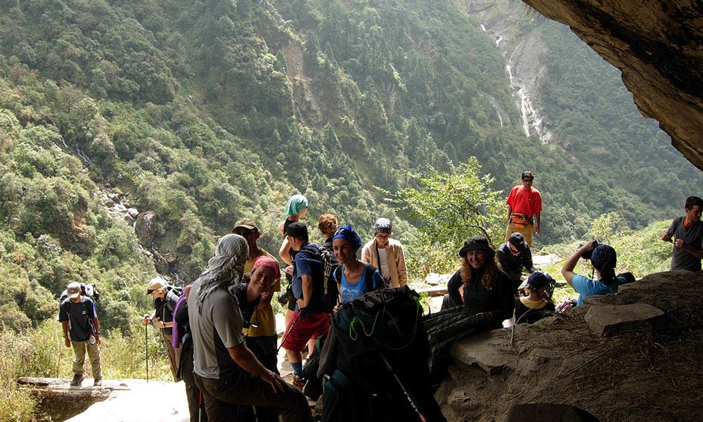 Group resting at Hinku Cave