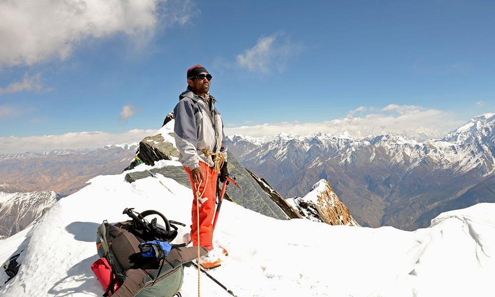 On the Summit of Dhampus Peak