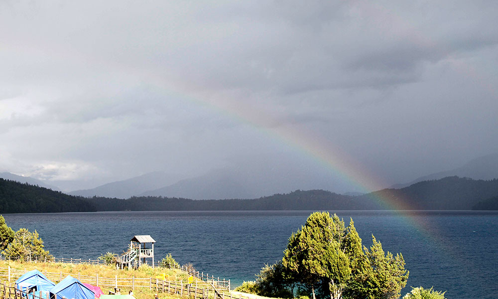 Rainbow over Rara Lake