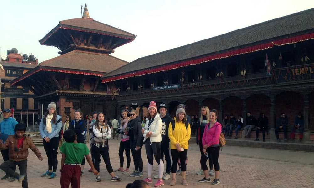 Group photo at Bhaktapur Durbar Square