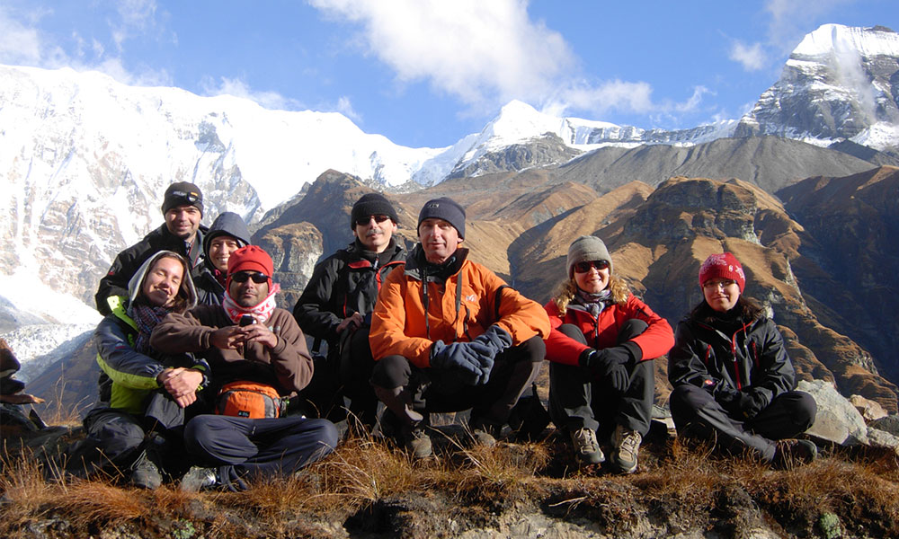 Group resting at Annapurna Base Camp