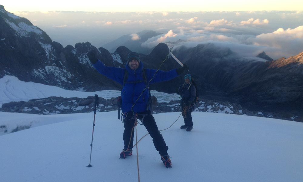 Descending after summiting Paldor peak
