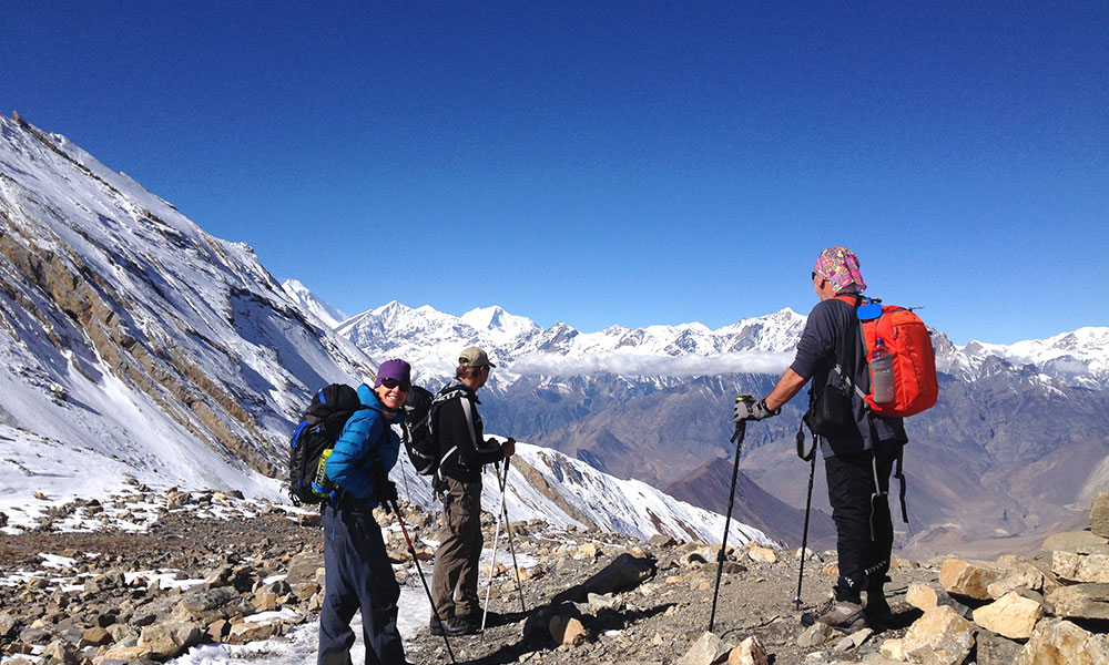 Descending to Muktinath from Thorong La Pass
