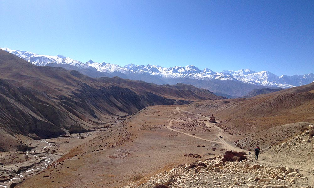 Mountain panorama on the way from Charang to Lo-Manthang