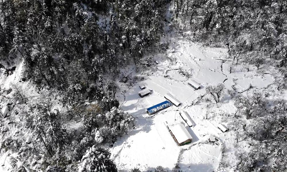 Lodges covered with snow during winter