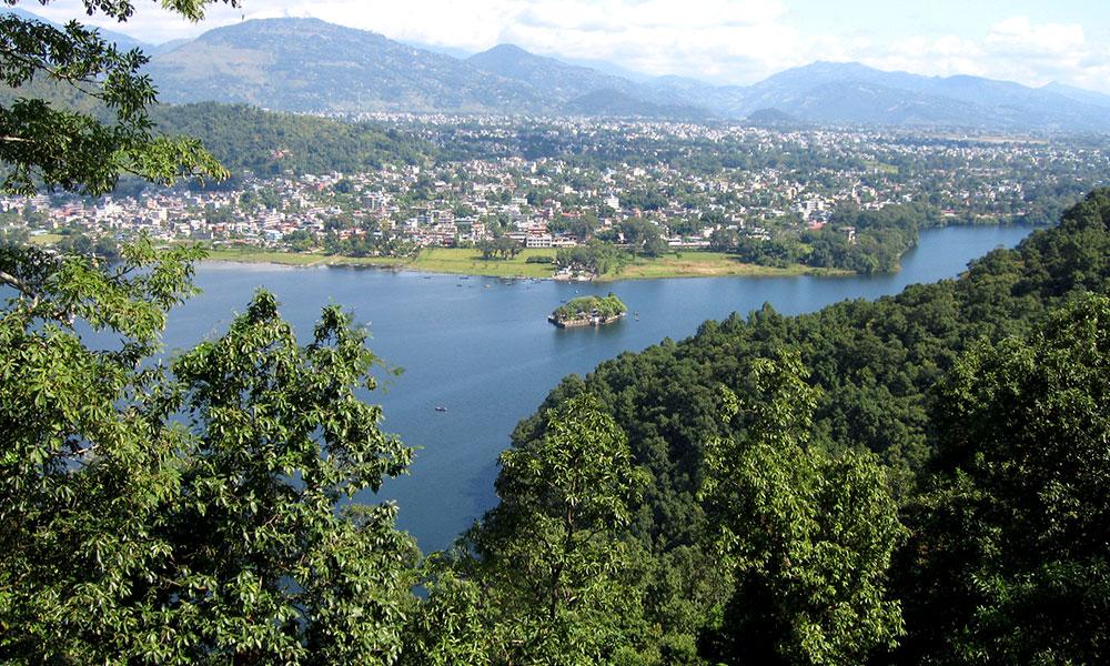 Fewa lake and Pokhara city