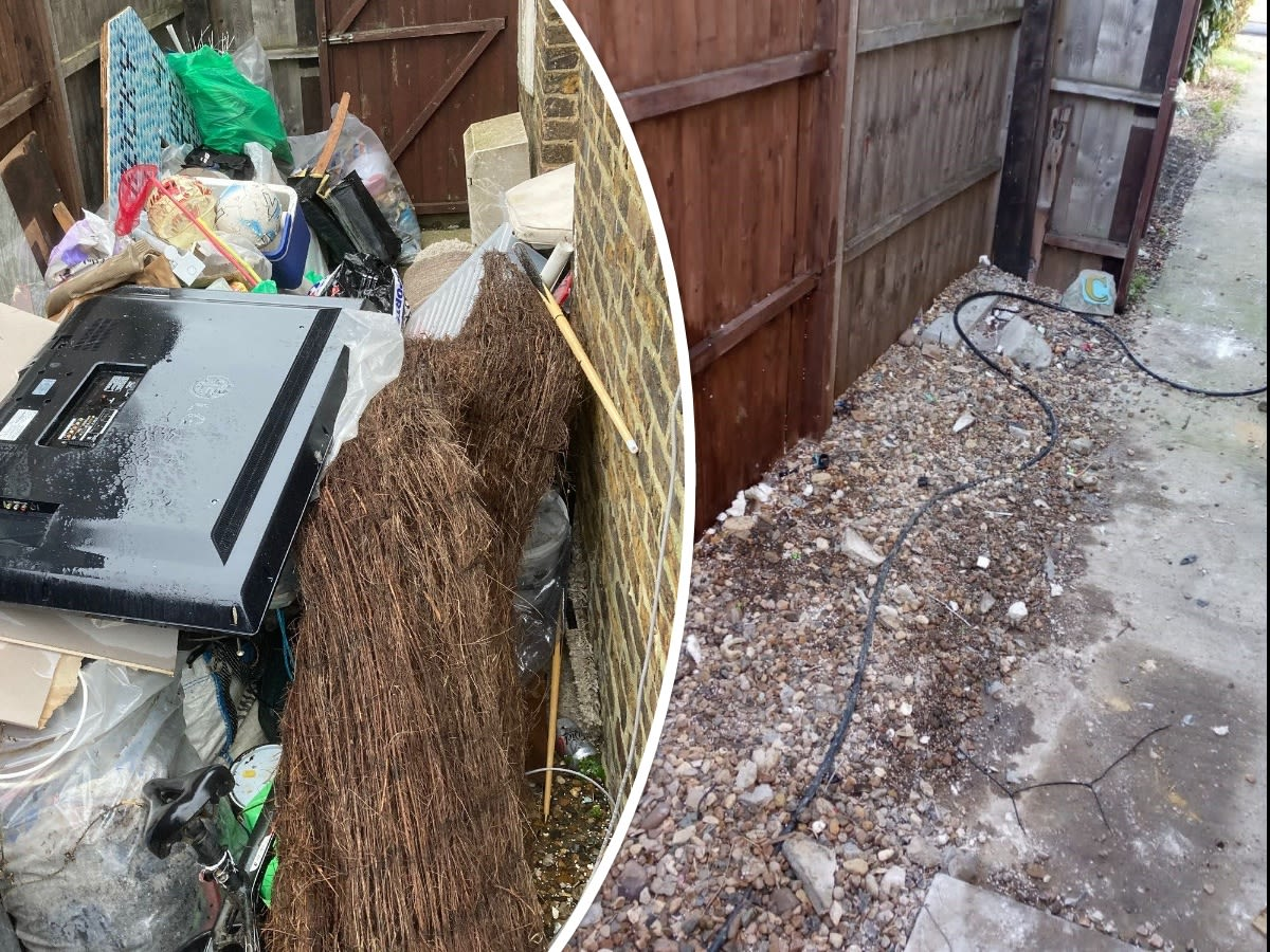 before and after picture of our house & garden clearance Services for a property in Sheerness