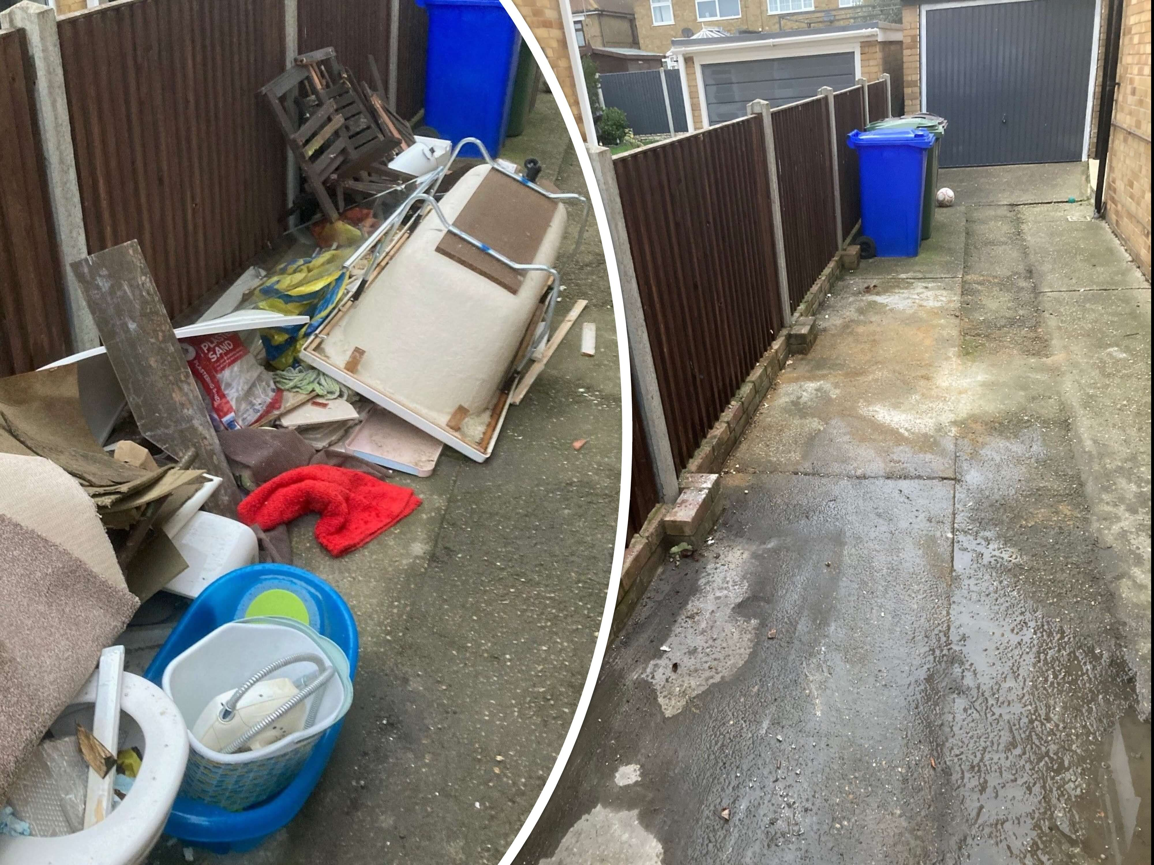 house & Garage clearance service before and after picture