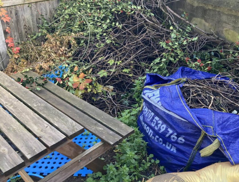 Rubbish in Garden before cddl recycling collection service