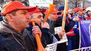 Siemens employees stage protests