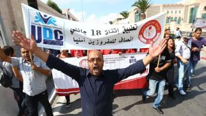 Protesters in Tunisia