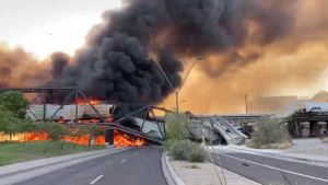 Union Pacific train derailed and caught fire