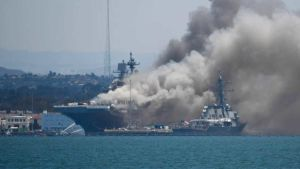 Ship fire in San Diego Navy base