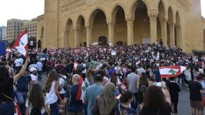 demonstrators in Lebanon
