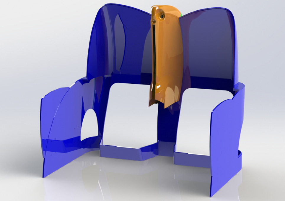 Aircraft Composite Seat 3D CAD Model Front View