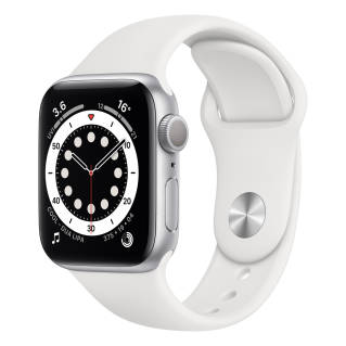 APPLEWatch Series 6 GPS (40mm, Silver Aluminum Case, White Sport Band)