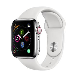 APPLEWatch Series 4 GPS+Cellular (40mm, Stainless Steel Case, White Sport Band)